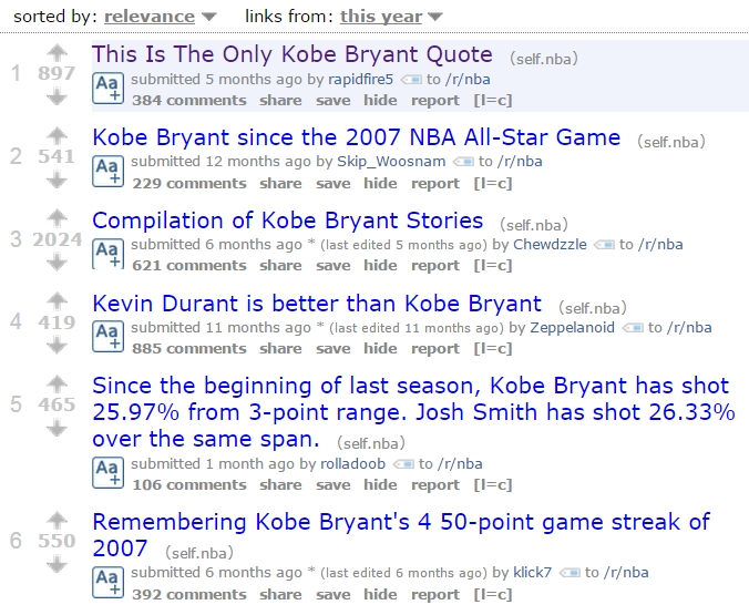 """This search for """"Kobe Bryant"""" turned up dozens of interesting talking points."""