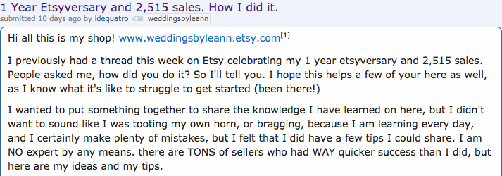 An Etsy seller writes a post about their success on Etsy.