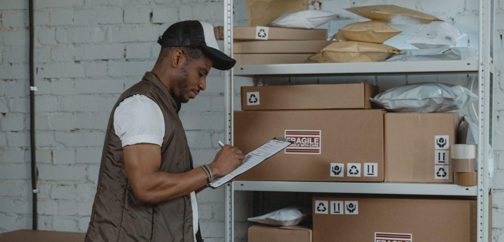 Man taking inventory