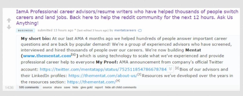 Reddit AMA