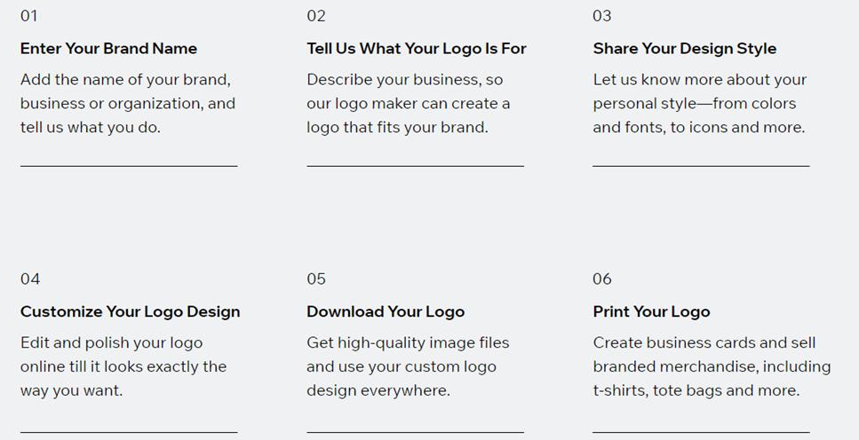 Wix Logo Maker steps