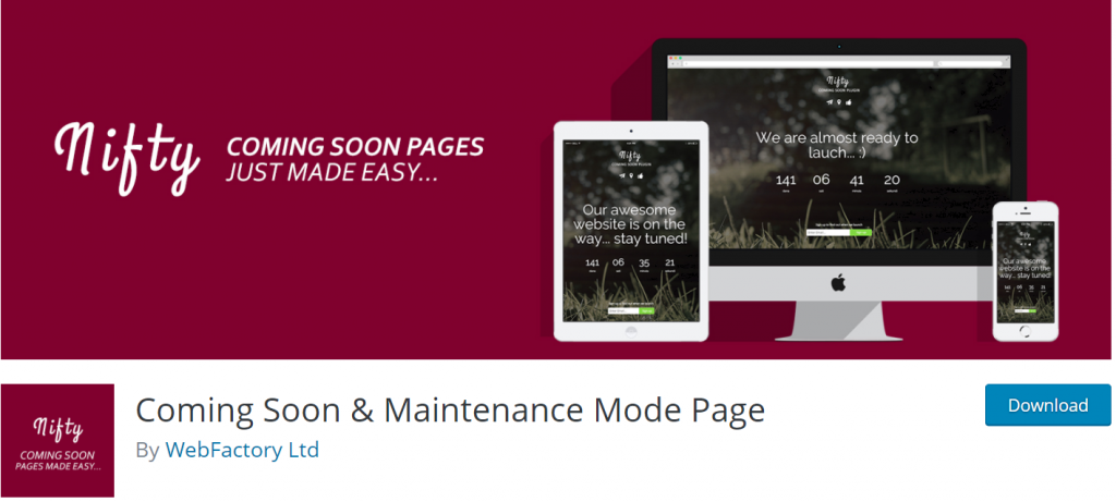Coming Soon and Maintenenace Mode Page banner