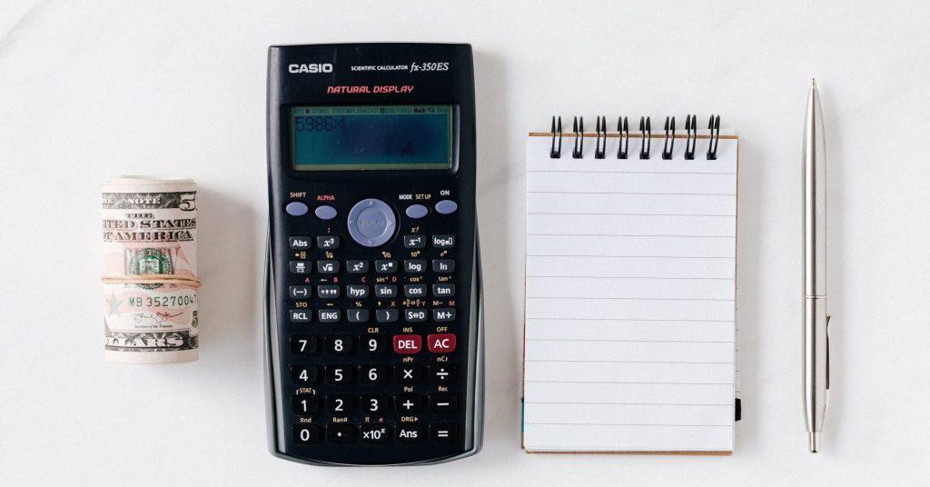 Image of calculator notepad money