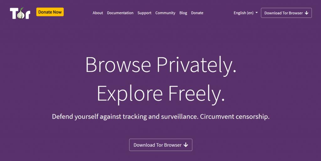 Tor homepage