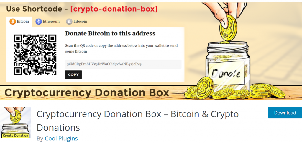 Cryptocurrency Donation Box banner