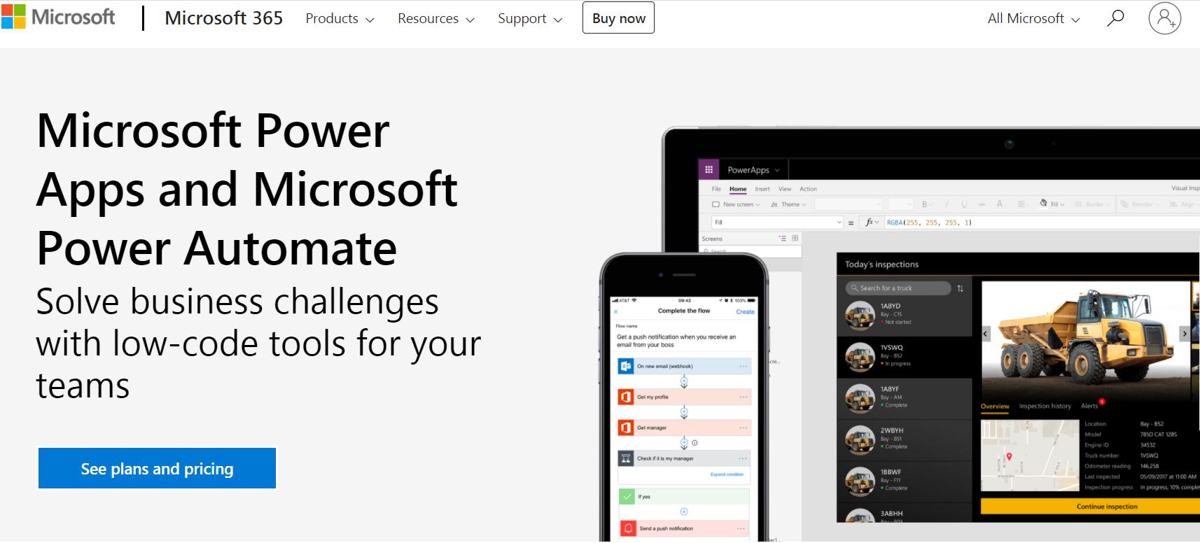 Microsoft Power Apps homepage