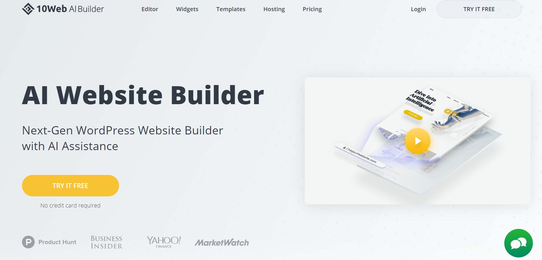 Ten AI Website Builder homepage