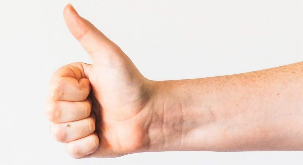 Thumbs up white background