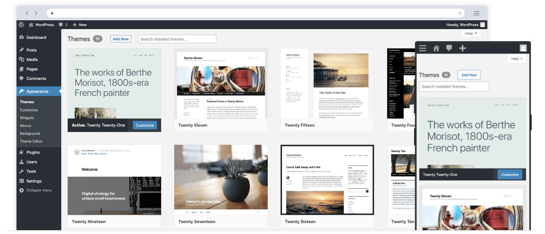 WordPress appearance