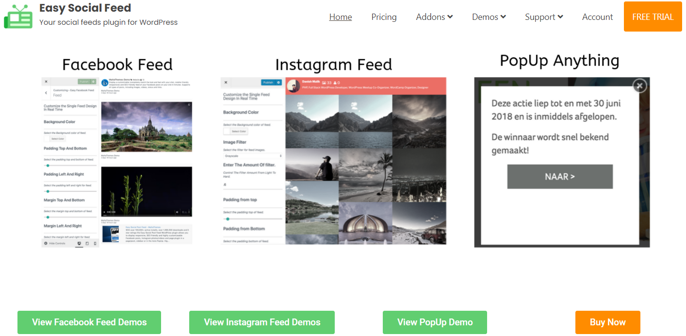 Easy Social Feed website