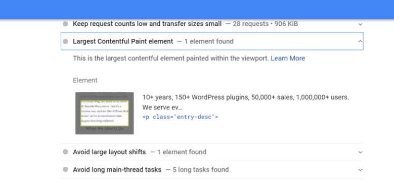 PageSpeed Insights example two