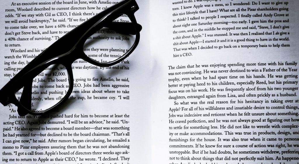 Book eyeglasses eyewear page