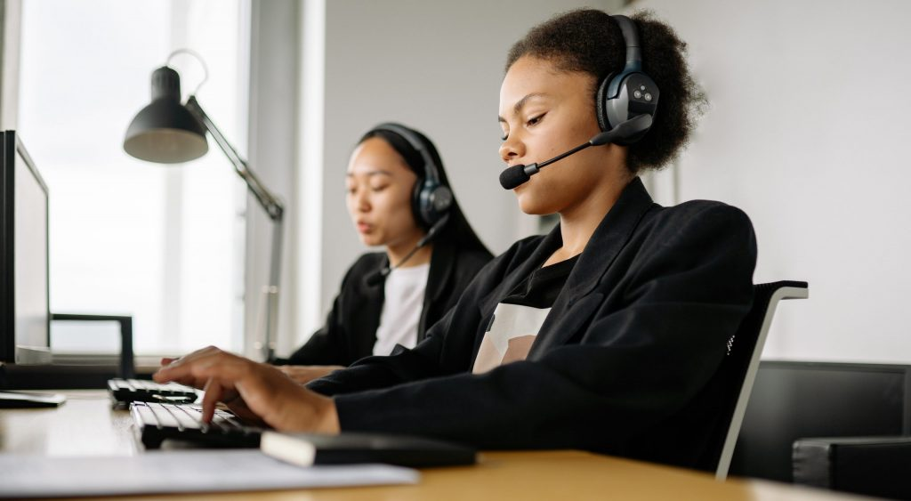 A woman working in a call center